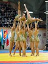Russian national gymnastics aesthetic team russia moscow march unidentified sportsmen of dance on world sambo championship Royalty Free Stock Images