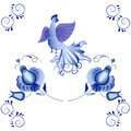 Russian national ornament. Blue floral pattern in Gzhel style ap