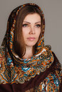 Russian national traditional scarf on your head beautiful oriental look portrait of a beautiful young woman with a her beauty Stock Image