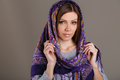 Russian national traditional scarf on your head beautiful oriental look portrait of a beautiful young woman with a her beauty Royalty Free Stock Image
