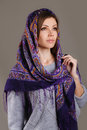 Russian national traditional scarf on your head beautiful oriental look portrait of a beautiful young woman with a her beauty Royalty Free Stock Images