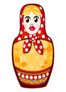 Russian nested doll matreshka cartoon on a white background vector file is eps all elements are grouped Stock Photos