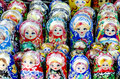 Russian nesting dolls traditional souvenirs for tourists matrioshka Royalty Free Stock Images