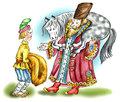 Russian noble man and his servant in traditional medieval clothes comic illustration Stock Photos
