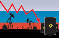 Russian oil price fall on oil pump field and russian flag background vector illustration Royalty Free Stock Photos