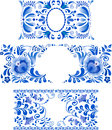 Russian ornaments art frames in gzhel style Royalty Free Stock Images