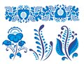 Russian ornaments art gzhel style painted with blue on white flower traditional folk bloom branch pattern vector