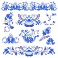 Russian ornaments art gzhel style painted with blue on white flower traditional folk bloom branch pattern vector Royalty Free Stock Photo