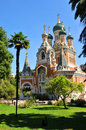 Russian orthodox cathedral cathedrale orthodoxe saint nicolas in nice france Royalty Free Stock Images