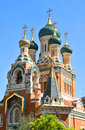 Russian orthodox cathedral detail of the cathedrale orthodoxe saint nicolas in nice france Royalty Free Stock Photo