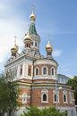 Russian orthodox cathedral in vienna this built the garden of the embassy named st nikolai was refurbished Stock Photo