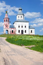 Russian orthodox church and road suzdal russia Stock Photography