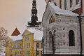 Russian orthodox church in tallinn estonia typical domes Royalty Free Stock Photo