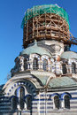Russian orthodox church under restoration tower in scaffolding in švenčiony city located kilometers mi north of vilnius in Royalty Free Stock Images
