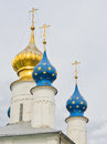 Russian orthodox domes in spasso yakovlevsky monastery russia Royalty Free Stock Photos