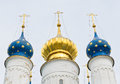 Russian orthodox domes in spasso yakovlevsky monastery russia Royalty Free Stock Photography