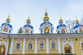 Russian orthodox monastery blue chapels of the church of the pskov caves a male located in pechory pskov oblast in Royalty Free Stock Photo