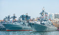 Russian pacific navy fleet at port Vladivostok Royalty Free Stock Photo
