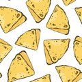 Russian pancake. Vector seamless pattern. Delicious background. Doodle style