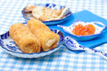 Russian pancakes and  red caviar Stock Images