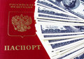 Russian passport and dollars Royalty Free Stock Photos