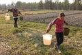 Russian peasant girl carrying water buckets lipovec village tver region russia may farmer Stock Photos