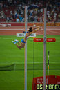 Russian Pole vaulter breaks world record Royalty Free Stock Images