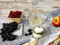 Russian quick nosh canape with cream cheese vodka and some fruits Royalty Free Stock Photography