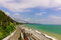 Russian Railway Track Running Along The Black Sea Shore. Royalty Free Stock Photo