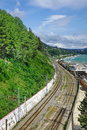 Russian Railway Track Running Along The Black Sea Shore Royalty Free Stock Photo