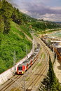 Russian Railway. Train Runs Along Black Sea Beach. Sochi Region Royalty Free Stock Photo