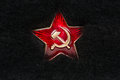 Russian Red Star with Hammer and Sickle on Fur Royalty Free Stock Photo