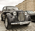 Russian retro car moskvich moscow april on rally of classical cars on poklonnaya hill april in town moscow russia Royalty Free Stock Image