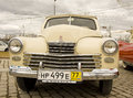 Russian retro car pobeda victory moscow april poeda on rally of classical cars on poklonnaya hill april in town moscow russia Royalty Free Stock Photo