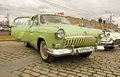 Russian retro car volga moscow april on rally of classical cars on poklonnaya hill april in town moscow russia Stock Photography