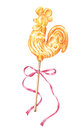 Russian rooster, cockerel lollipop with pink bow, watercolor illustration