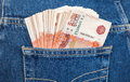 Russian rouble bills in the jeans pocket back Royalty Free Stock Photography