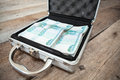 Russian rubles in order inside of steel suitcase Stock Images