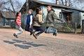 Russian, rural schoolchildren during recess, jumping rope