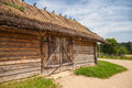 Russian rural wooden architecture example old barn with locked gate Stock Photography