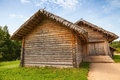 Russian rural wooden architecture example old barns barn with locked gate Royalty Free Stock Images