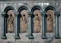 Russian saints images of made of metal located between the granite columns the fragment of the monument Stock Images