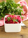 Russian salad with beetroot cabbage and potatoes Stock Photos
