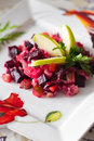 Russian salad with beets and other boiled vegetables Stock Images
