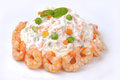 Russian salad with shrimps Royalty Free Stock Photo