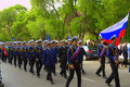 Russian seamen on parade varna city bulgaria during tall ships regatta crew may st Stock Image