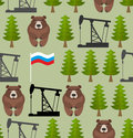 Russian seamless pattern. Bears and forest. Oil rig and a Russia