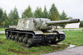 Russian self propelled gun isu in museum Stock Images
