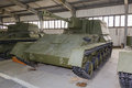 Russian self propelled gun su artillery in hangar Royalty Free Stock Photo