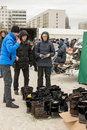 Russian Shoppers Buying Winter Boots Royalty Free Stock Photo